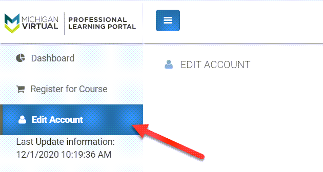 The Edit Account option is displayed in the far left navigation menu. An arrow points to this selected option.