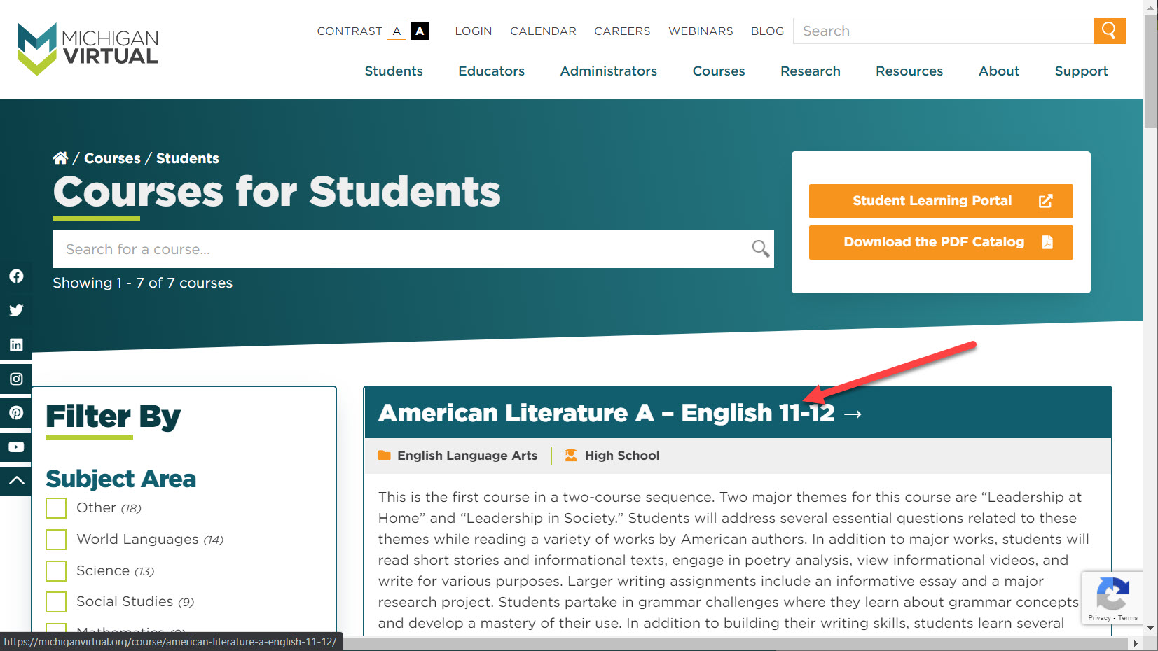 The Michigan Virtual Courses for Students page is shown with filtered results. The American Literature A course is shown with the description. An arrow points to the course title.