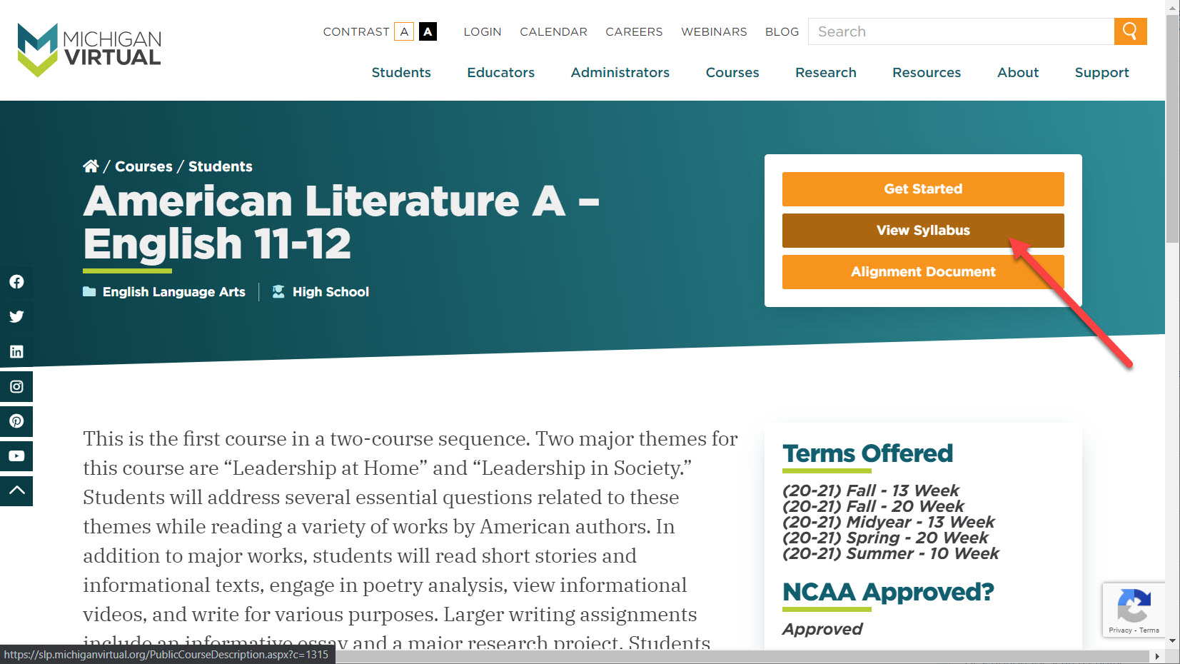 The American Literature Course details page is shown. On the top right corner there are three buttons, get started, view syllabus and alignment document. An arrow points to the View Syllabus button.