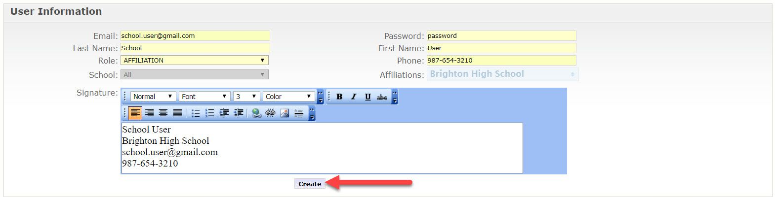 The Add User page is displayed showing the fields mentioned above. An arrow points to the create button at the bottom of the signature field.
