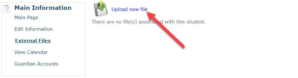 An enlarged image of the Main Information section of the page shows an arrow pointing to the Upload New File link.