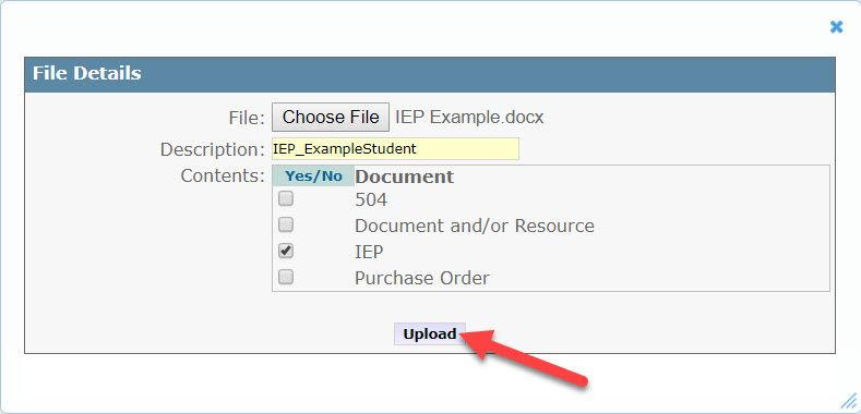 The File Details window is displayed showing the fields mentioned above. An arrow points to the Upload button located at the bottom of the window.