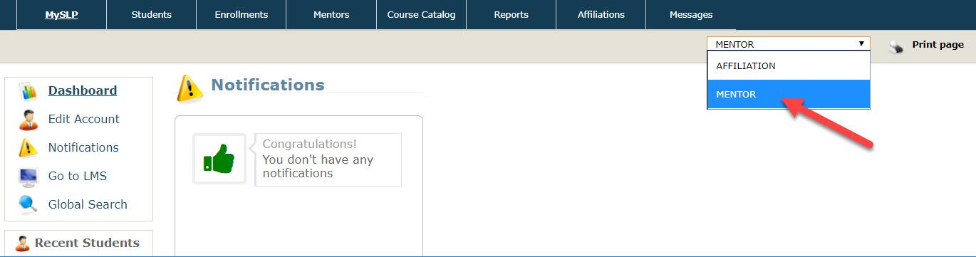 The Student Learning Portal home page is displayed with the drop-down menu expanded to show the two roles mentioned above. An arrow points to the MENTOR option.