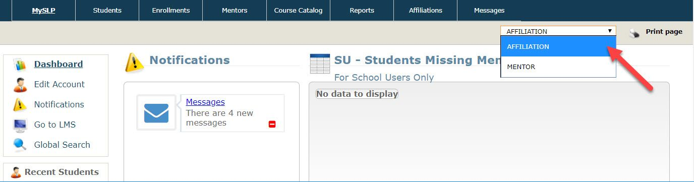 The Student Learning Portal home page is displayed with the drop-down menu expanded to show the two roles mentioned above. An arrow points to the affiliation option.