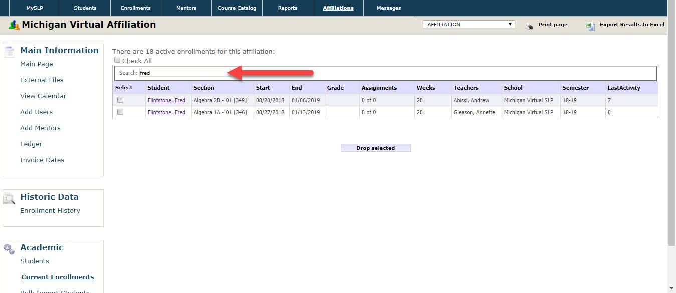 The Current Enrollments page is displayed showing a table which contains information about the enrollments within the selected affiliation. An arrow points to the Search field.
