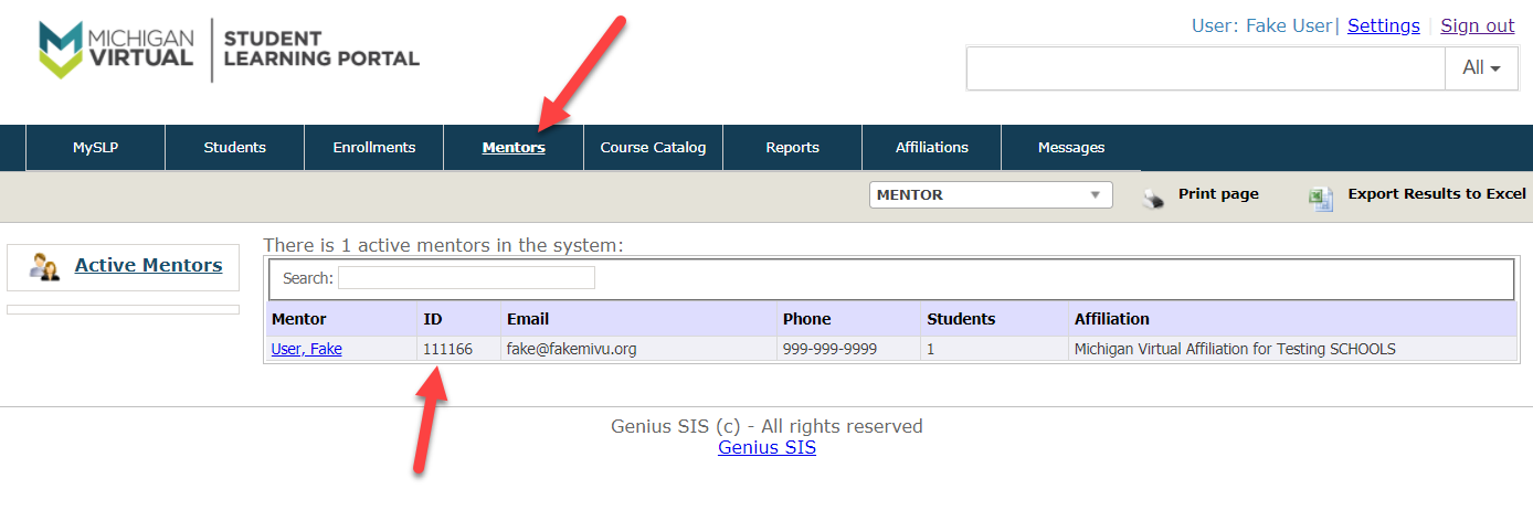 An image of the Mentors page is shown with the Mentors option selected in the navbar. An arrow points to the Mentors option and to the numbers in the ID column located within the table below.