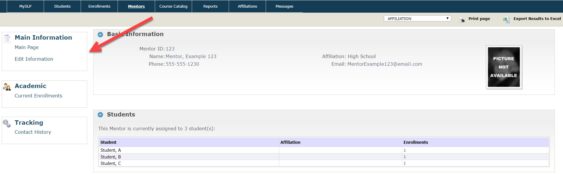 The Mentor profile page is displayed showing mentor contact information and students he or she is currently monitoring. An arrow points to the left navigation menu with options shown as described above.