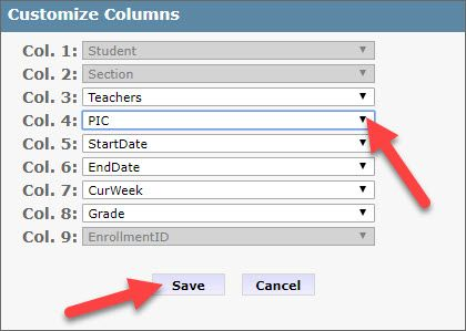 """The Customize Columns pop-up dialog box shows nine field drop-down menus labeled column 1 through column 9. Column 1, 2 and 9 fields are grayed out and cannot be modified. Arrows point to the Column 4 drop-down field containing """"PIC"""" and to the Save button at the bottom of the pop-up."""