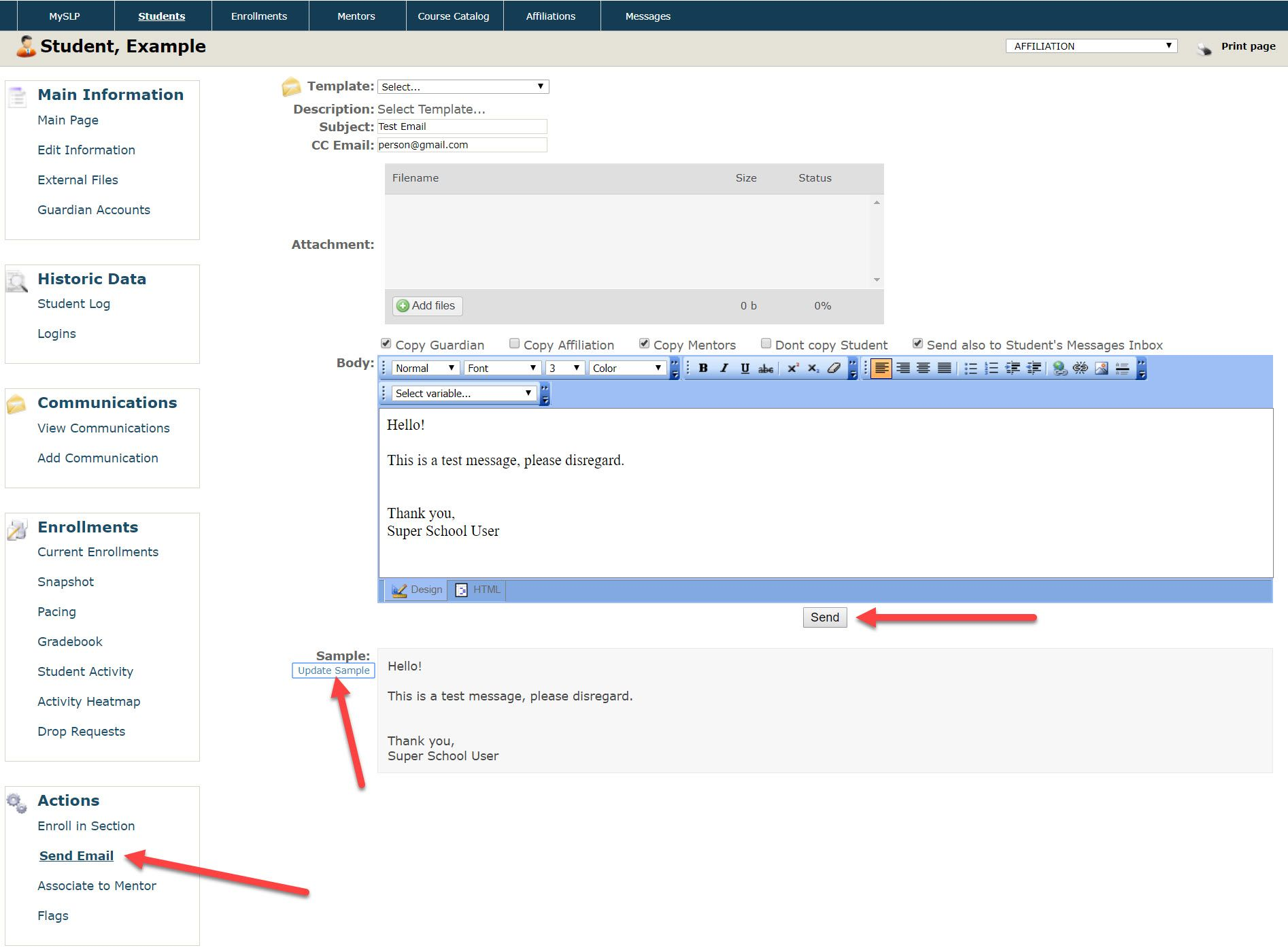The Send Email form page shows the fields described above. Arrows point to the Send Email option in the left menu, the Update Sample link in the Sample section as well as the Send button.