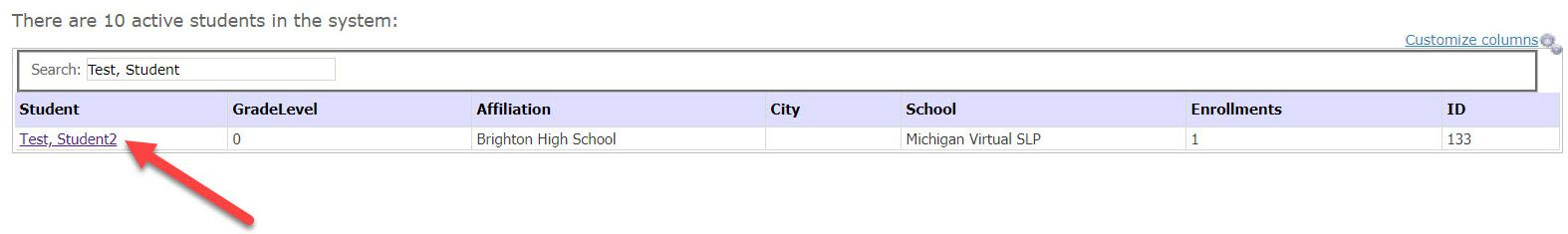 The Active Student page is displaying a table containing a list of active students within their affiliation. An arrow points to the linked name in the Student column.