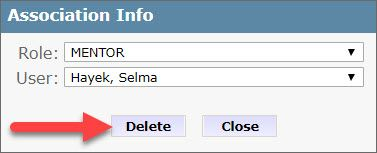 The Association Info dialog box shows two fields, Role and User and below are Delete and Close buttons. An arrow points to the Delete button.