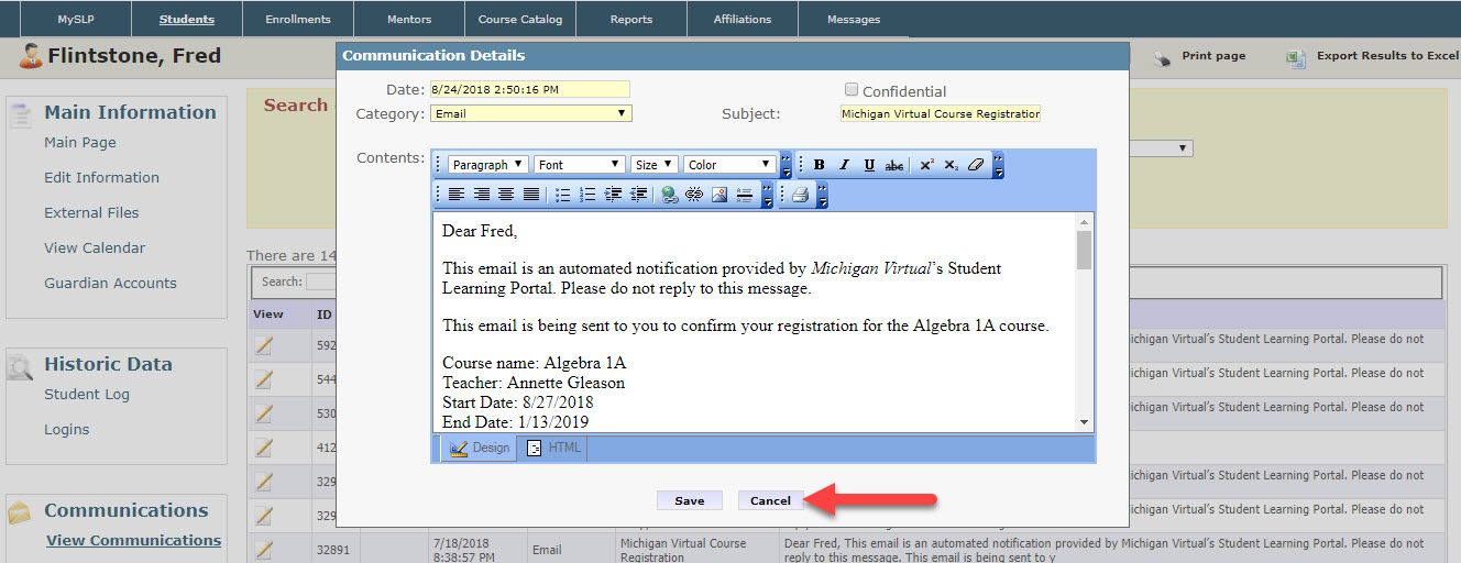 An image of the Communication Details dialog box as it appears on the View Communications page shows the fields mentioned above as well as the Date and Category fields. An arrow points to the Cancel button at the bottom of the dialog box.