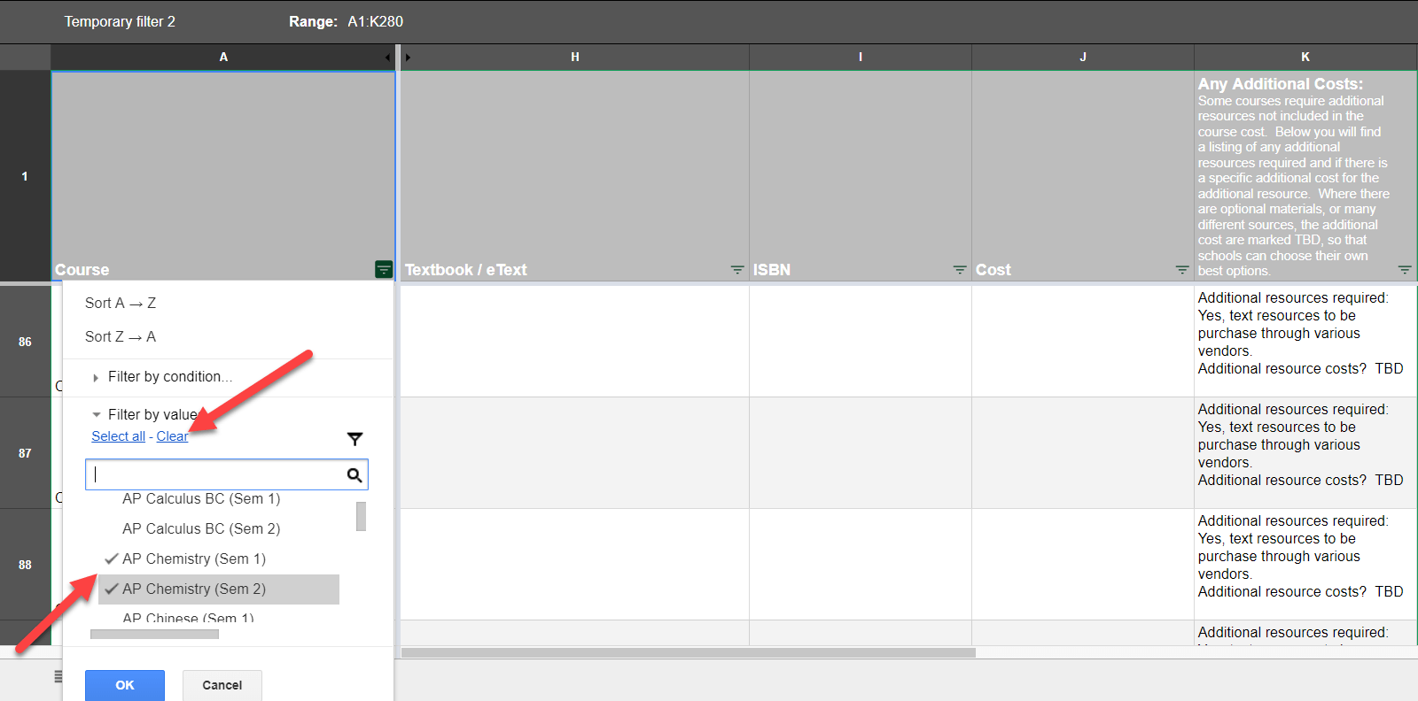 The Course List Summary of Technical & Software Requirements, Textbooks, & Additional Costs Google Sheet is showing the expanded filtered Course column menu. Arrows point to the Clear link and to the checkmarks next to the course names.