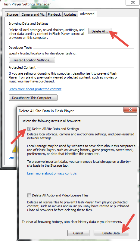 Screen capture of the Flash Player Settings Manager pop-up dialog box with an arrow pointing to the Delete All button. Another screen capture of the Delete all pop-up dialog box with arrows pointing to the delete all site data settings option and to the Delete all button.
