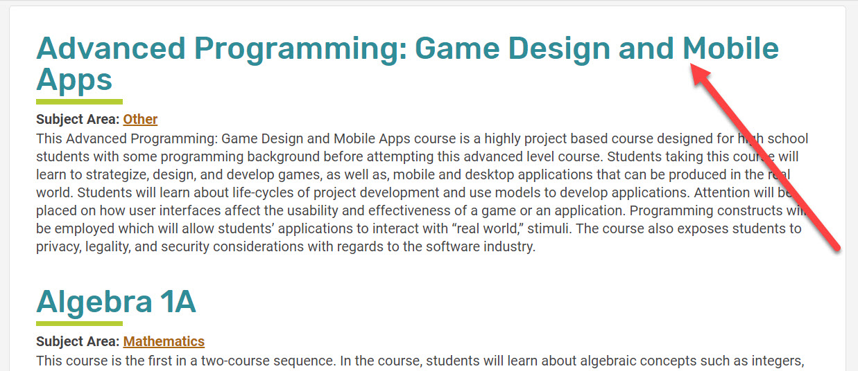 A enlarged image of the course list zooms in to show the list. An arrow points to the first result, Advanced Programming: Game Design and Mobile Apps course.