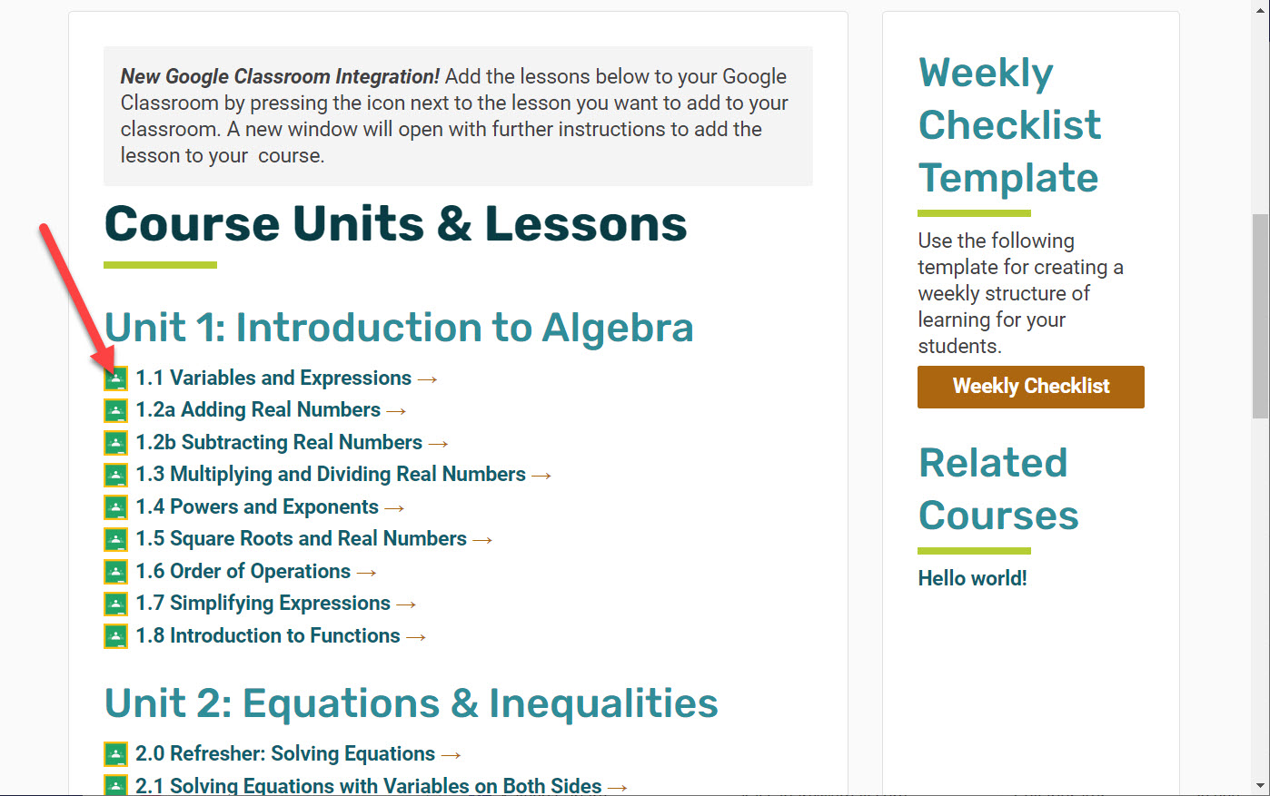 The Course Units and Lessons page shows a Google Classroom link located to the left of each lesson. An arrow points to the first lesson 1.1 Variables and Expressions.