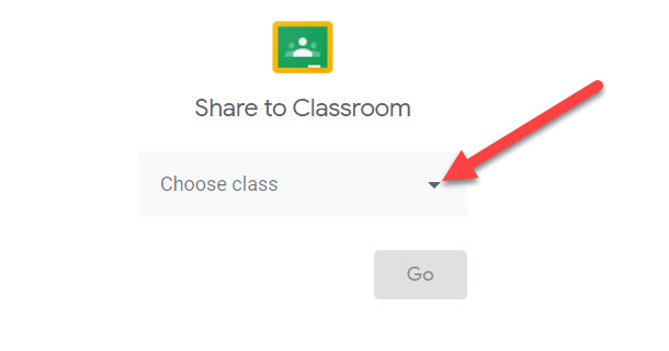 Share to Classroom page is shown with an arrow pointing to the drop-down menu.