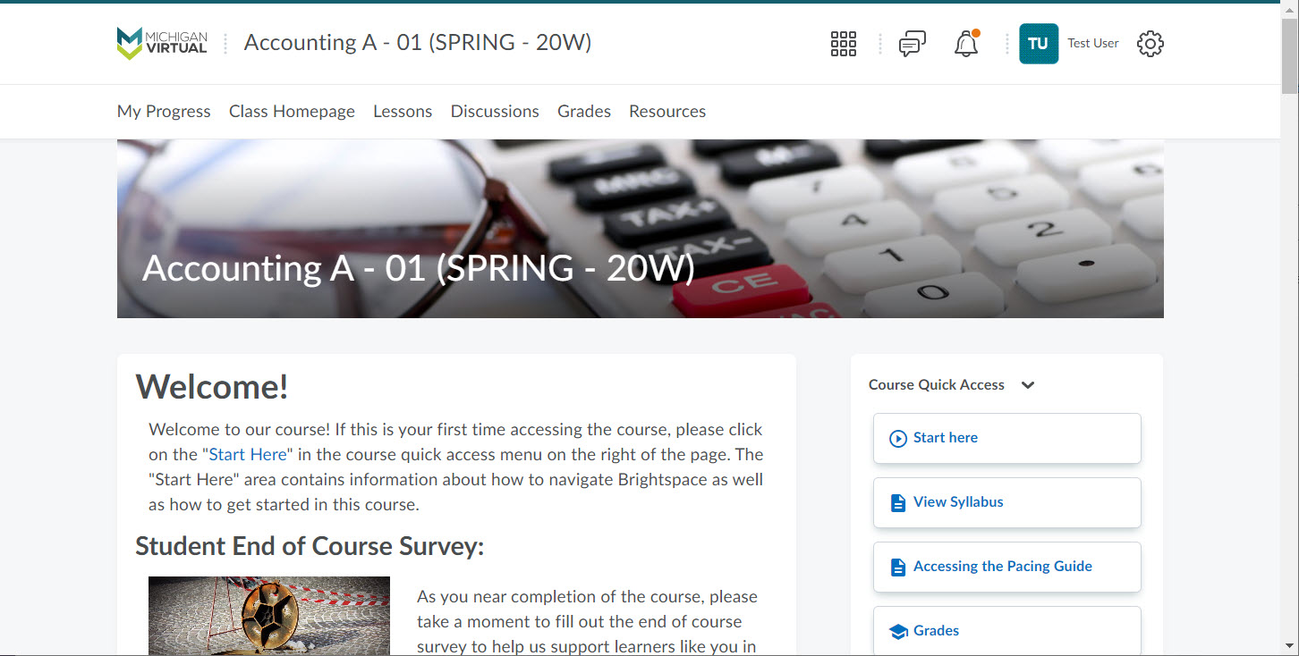 Image depicts an example of what a screen shot should look like. The entire page has been captured showing the Brightspace LMS. It clearly shows the course name, username and course homepage.