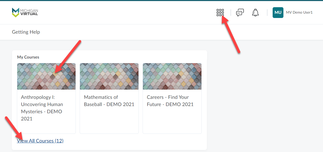 The Brightspace landing page is shown for a demo account. Arrows point to the waffle icon, the Anthropology tile in My Courses and to the View All Courses link as described above.