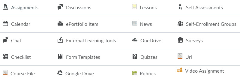 Brightspace activity icons are displayed to aid in understanding what type of activity the item is.