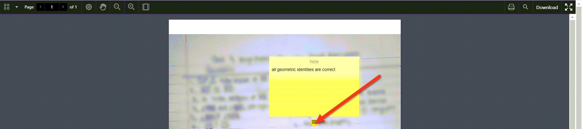 A blurred out portion of a PDF scanned image of an assignment is shown with an arrow pointing to a notes icon. The notes are displayed as feedback for students to review.