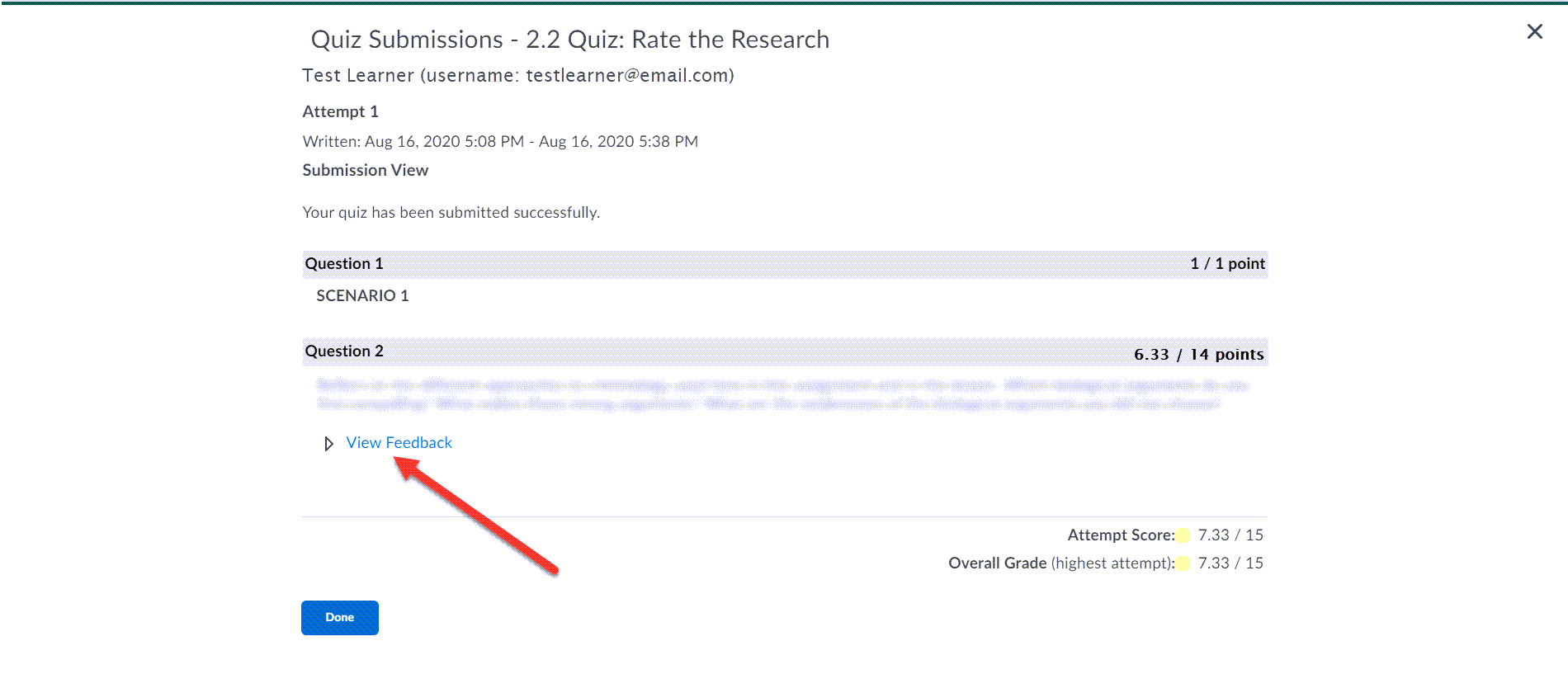 Quiz Submission details are displayed for the 2.2 Quiz Rate the Research. A modified image shows the individual questions and responses. Below the response of question 2, the View Feedback drop-down is shown with an arrow pointing to it.