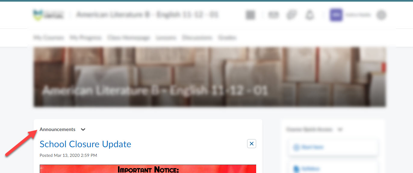 Course homepage shows an arrow pointing to the Announcements section.