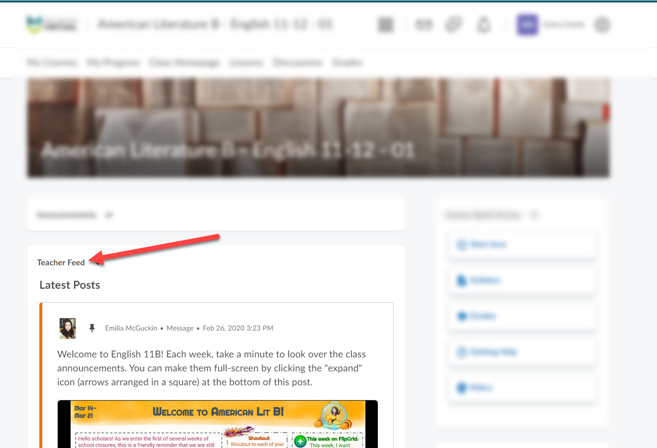 Course homepage shows an arrow pointing to the Teacher Feed section.