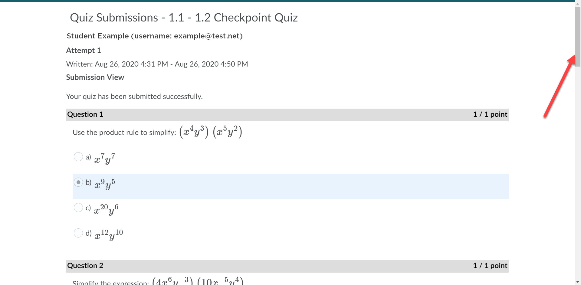 Quiz submission example is shown. The submission details are shown and the questions and responses are also displayed. An arrow points to the scroll bar on the right for the user to view additional questions submitted.