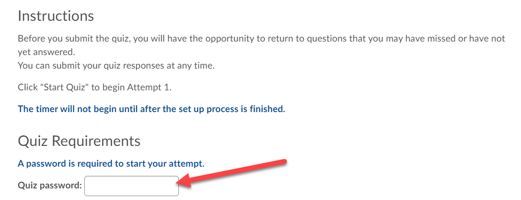Instructions and Quiz Requirements sections are displayed. An arrow points to the Quiz Password text box.
