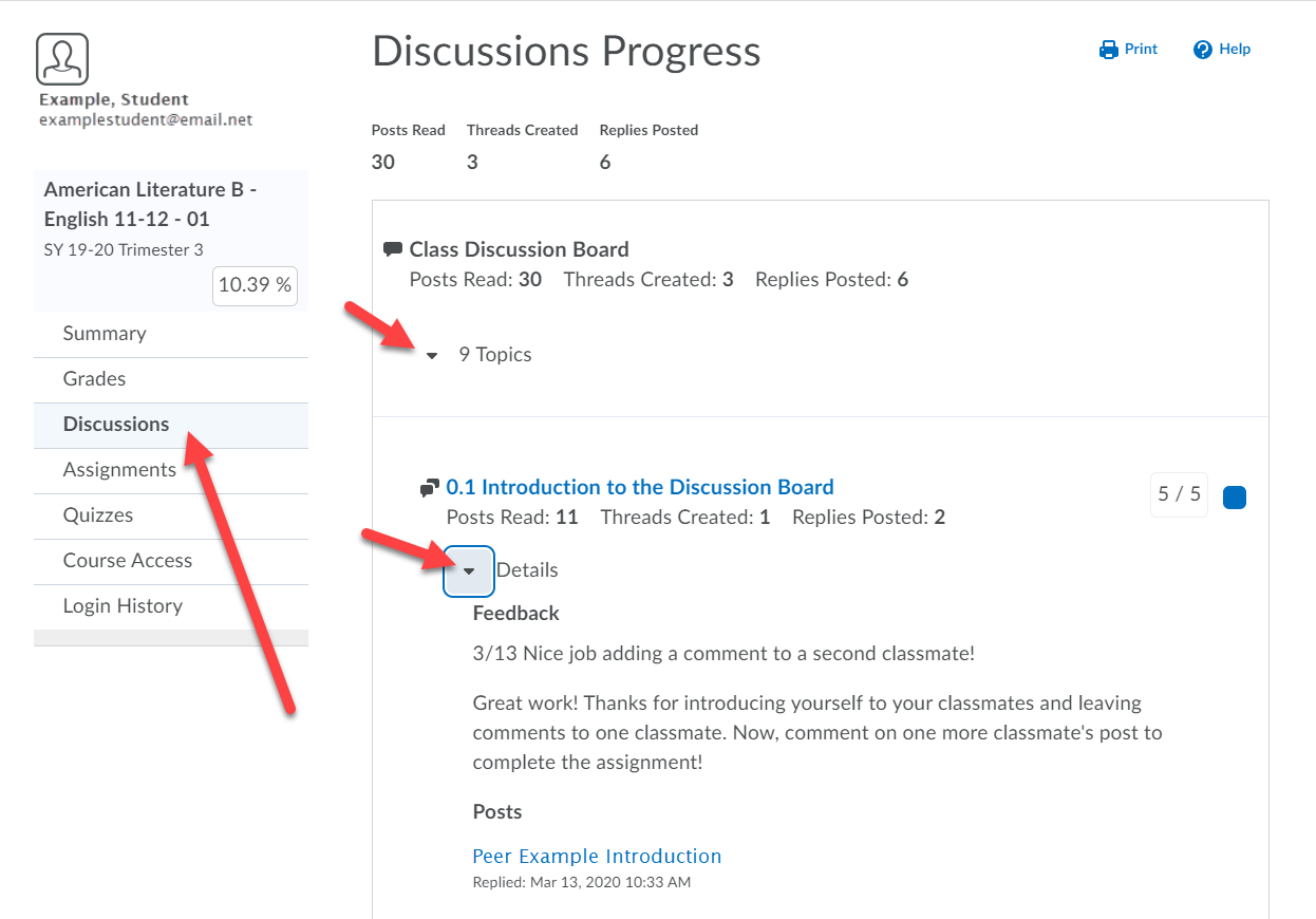 Discussions Progress page is shown. Arrows point to the Discussions options on the left menu, to the count of topics and to the Details drop-down.