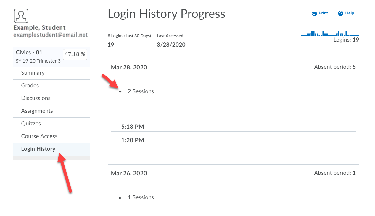 Login History Progress page is display with contents mentioned above. An arrow points to the Login History option on the left menu and to the sessions drop-down.