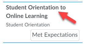 Enlarged image of the Student Orientation to Online Learning option within the left menu with an arrow pointing to the linked text.