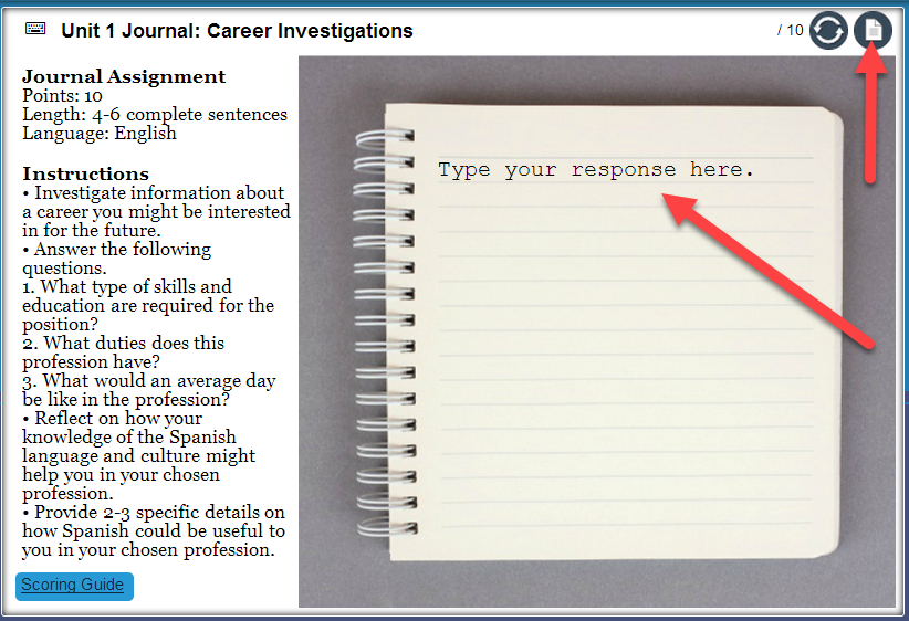 Screen capture of journal entry activity. Arrows point to the open-text area as well as the submit icon.