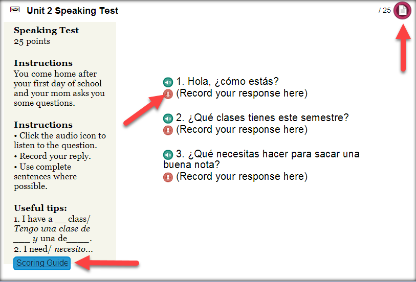 Screen capture of a speaking test activity. Arrows point to the microphone icon to record, and to the Scoring Guide and Submit buttons.