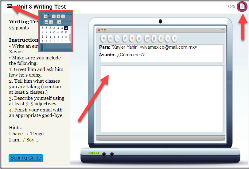 A screenshot of a writing test activity is shown with an arrow pointing to the special characters icon, the text entry section and finally to the submit button.