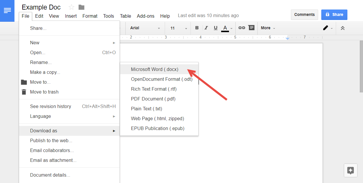 Screen capture of a Google Doc with the file menu expanded and Download as selected. An arrow points to the Microsoft Word option.