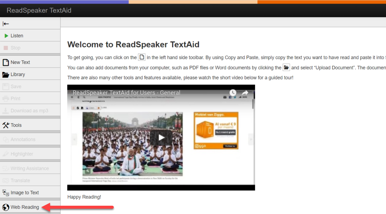 The Read Speaker Text Aid page appears with the left menu showing available options to select. An arrow points to the Web Reading option in that menu. The page content is showing a Welcome to Read Speaker Text Aid introduction.