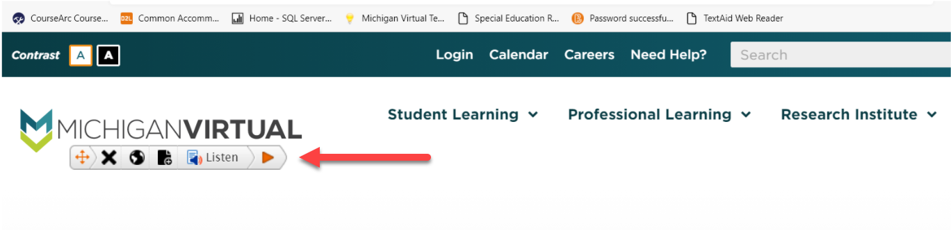 Text Aid menu floating on Michigan Virtual website page. An arrow is pointing to this floating menu.