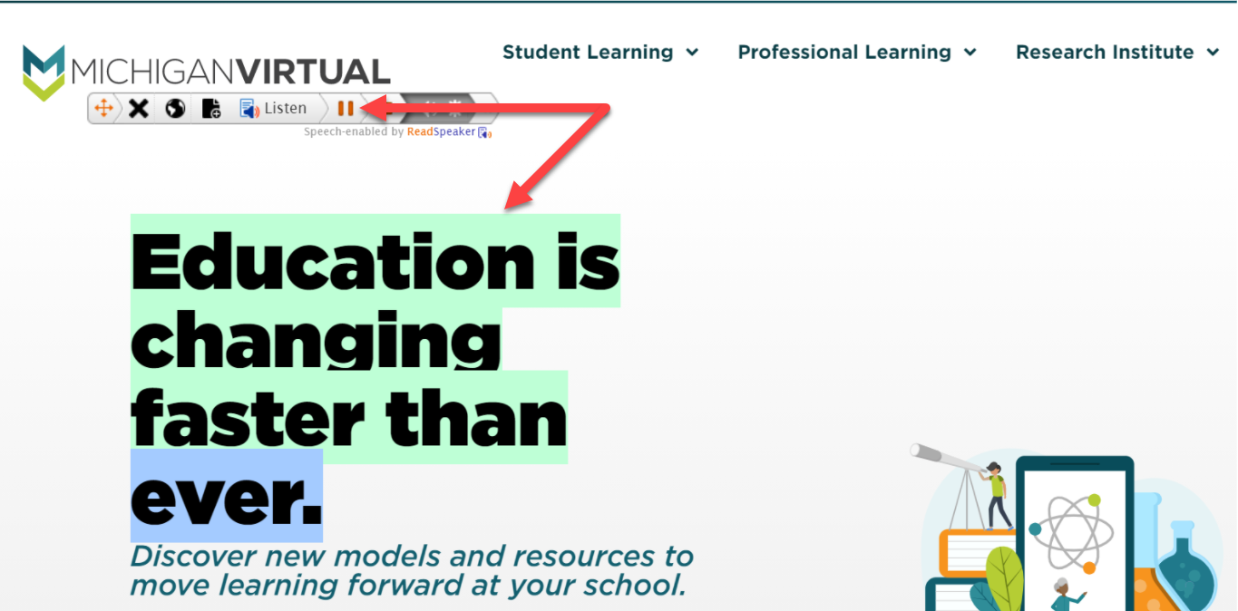 The Text Aid floating menu bar is displayed on the Michigan Virtual Website. An arrow points to the play (now pause) button and to highlighted text on the page.