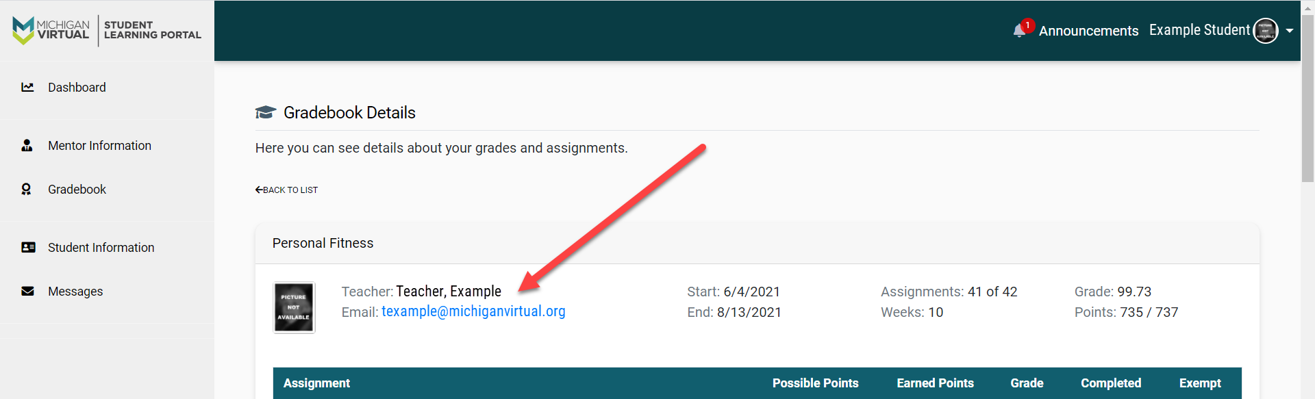 The View Details page is shown with an arrow pointing to the Instructor/Teacher name and email above the assignment details section.