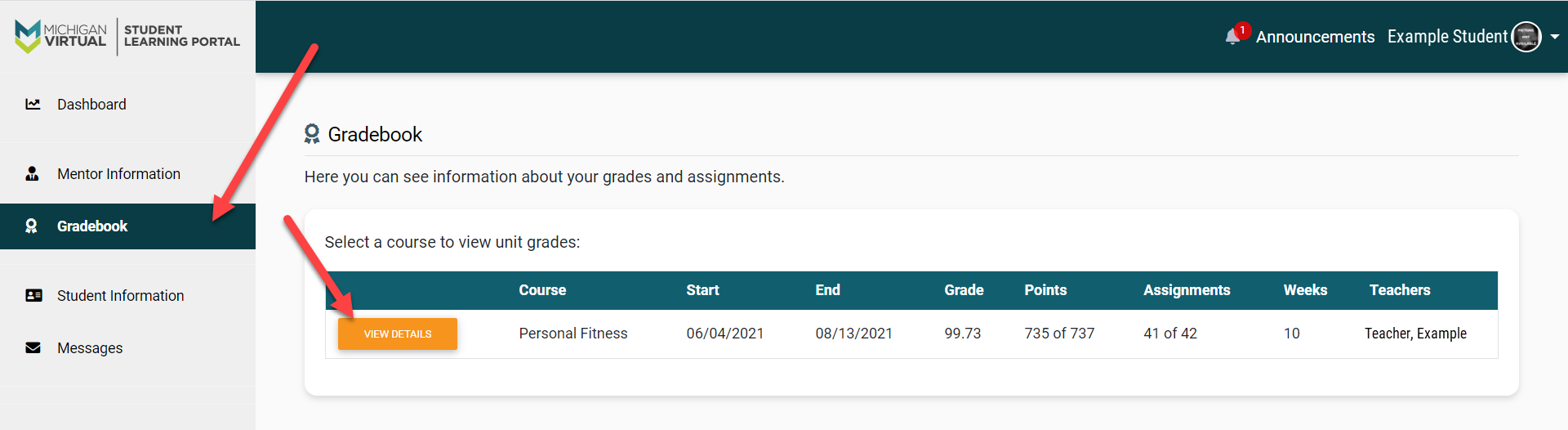 The Gradebook page is shown with a list of courses. An arrow points to the Gradebook menu option on the left and to the View Details button within the page courses module.
