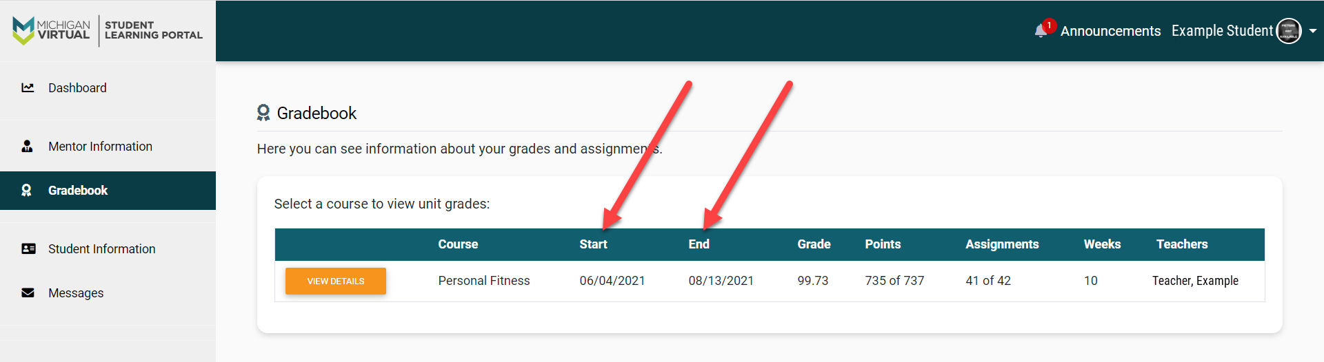 The Gradebook page is shown with a list of courses. An arrow points to the Start and End columns in a table containing Student course(s).