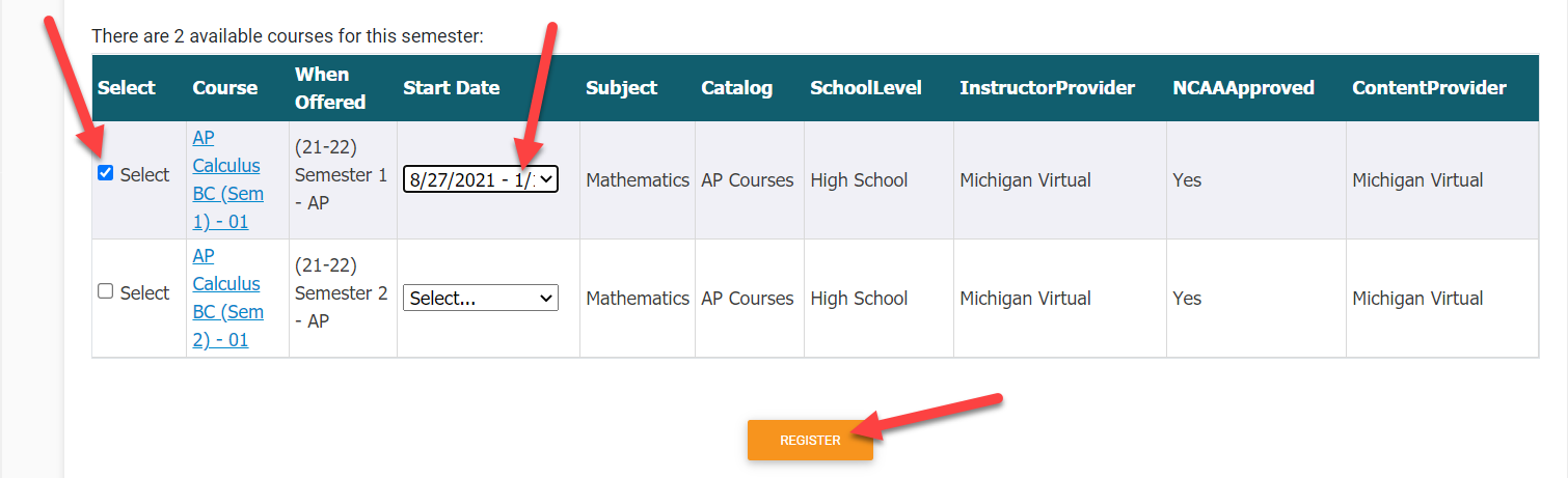 The results table of the Course Registration page is enlarged to show the courses matching the criteria specified in the filters above. Arrows point to the checkbox in the Select column of the table, the drop-down field in the Start Date column and finally to the Register button at the bottom of the page.