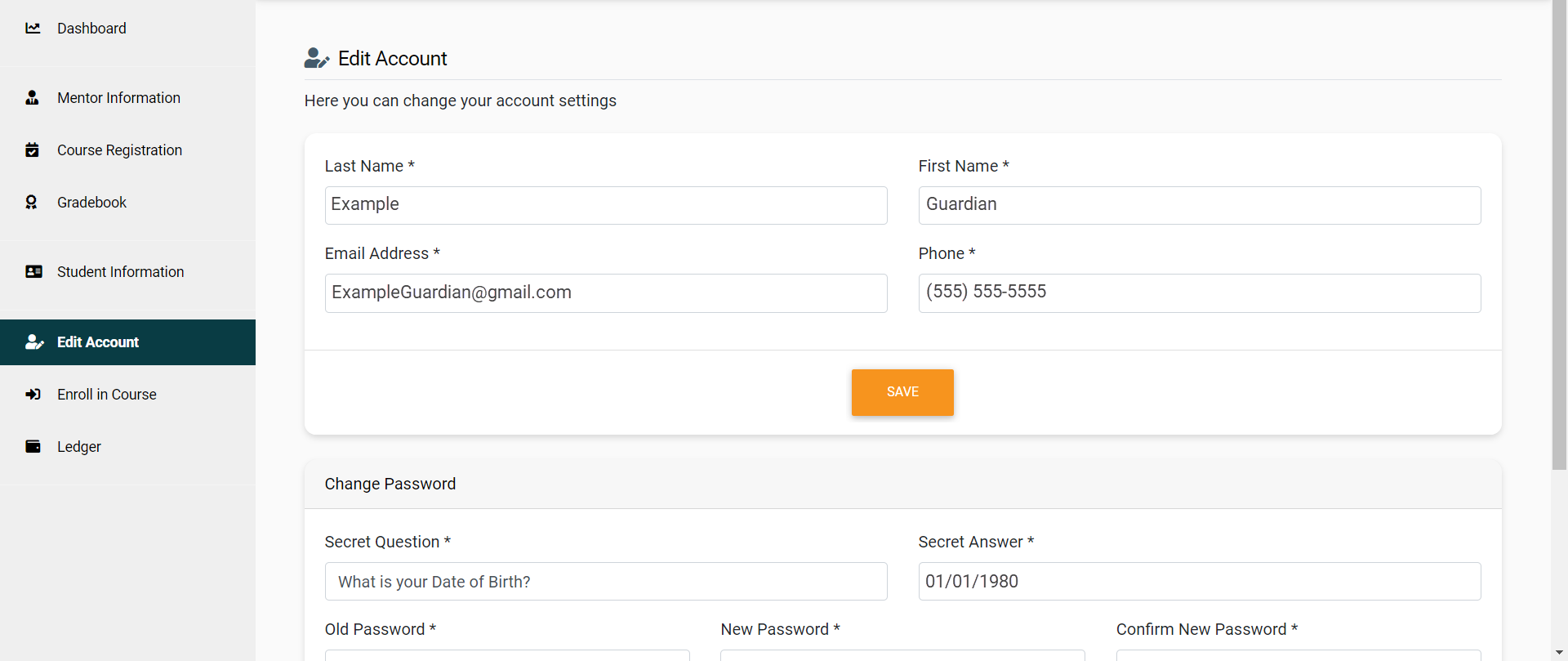 The Edit Account page is divided into two sections. The first includes Last Name, First Name, Email Address, Phone and Current Password. Below is a Save button which will apply changes to those fields. The second section is Old Password, Security Question, Secret Answer, New Password and Confirm Password. Below is a Save button that will apply changes made to those fields. An arrow points to the second save button.
