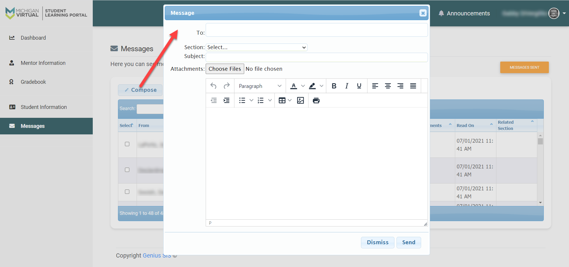 The Compose Message pop-up dialog box is shown. An arrow points from the Compose button to this window. The fields indicated above are shown.