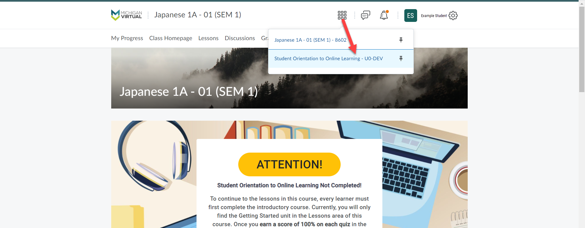 An arrow points from the waffle icon in the top banner to the Student Orientation to Online Learning option.
