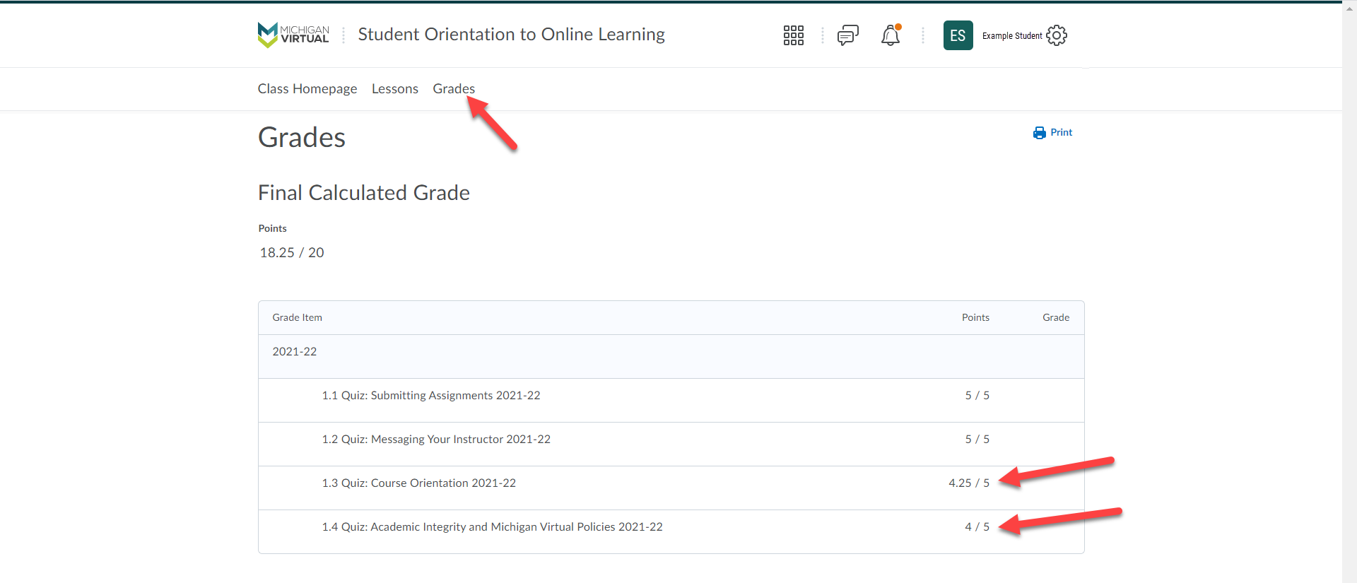 The Student Orientation to Online Learning Grades page is shown with an arrow pointing to the Grades option. Additional arrows point to two graded quizzes with a 4.25 and 4 out of 5 score.