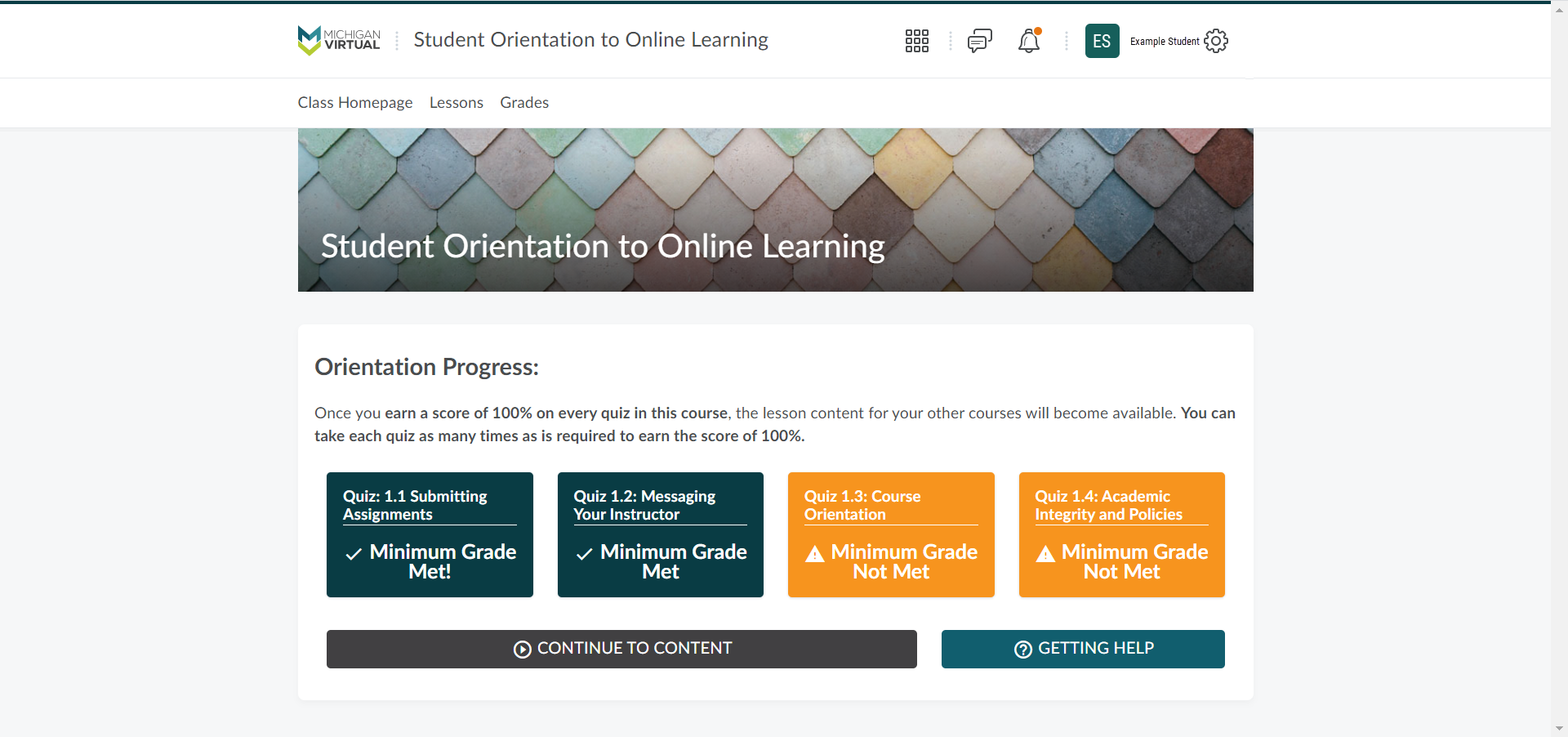 The class homepage for the Student Orientation to Online Learning course appears showing Orientation Progress. The first and second quiz tiles are showing a teal background indicating completion. The third and forth quiz tiles appear in orange indicating that the minimum grade was not met.