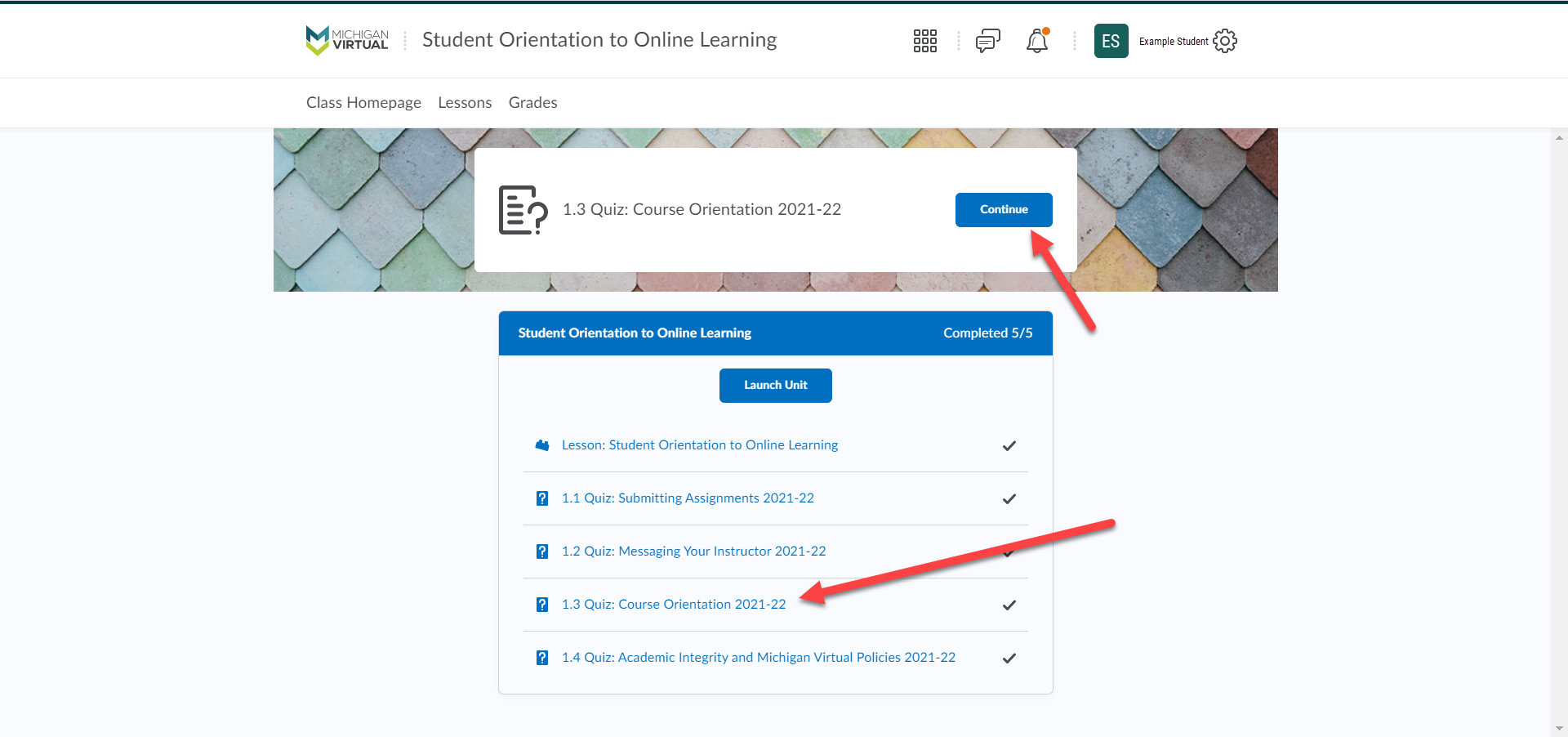 The Lessons page shows arrows pointing to the Lessons option in the navbar and to the Quiz from the step above.